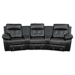 Flash Furniture 117-Inch Leather 3-Seat Reclining Theater Set in Black