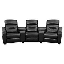 Flash Furniture 120-Inch Leather 3-Seat Reclining Theater Set in Black