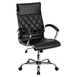 Flash Furniture 46.5-Inch Bonded Leather Office Chair with Arms in Black