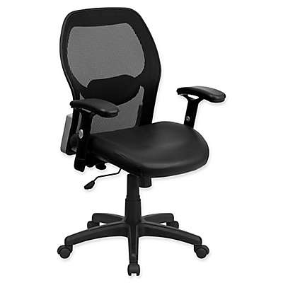 Flash Furniture 38-Inch - 47.9-Inch Leather/Mesh Office Chair in Black