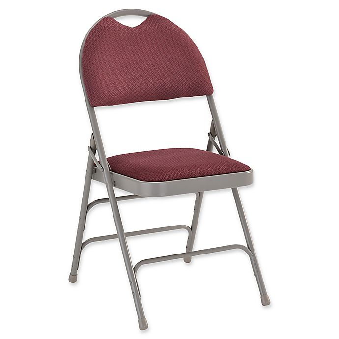 Alternate image 1 for Flash Furniture Large Fabric Folding Chair in Grey/Burgundy