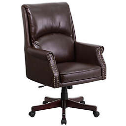 Flash Furniture High Back Leather Office Chair in Brown