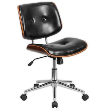 Pleasing Flash Furniture Leather Mid Back Task Chair In Black Spiritservingveterans Wood Chair Design Ideas Spiritservingveteransorg