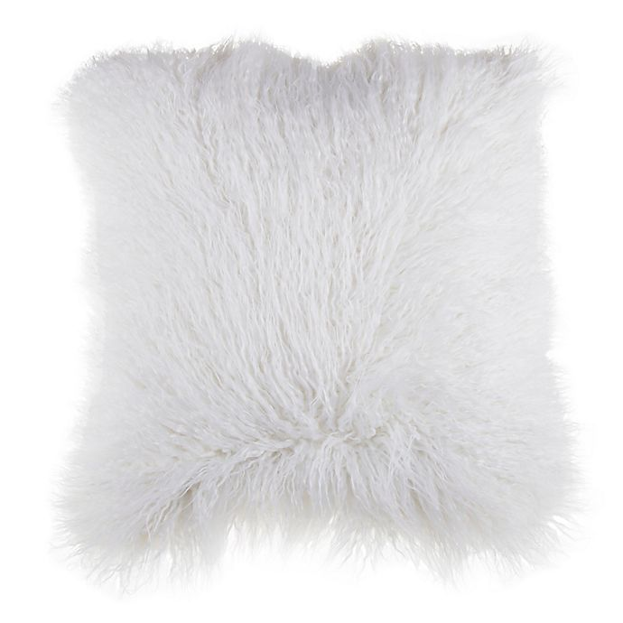 Alternate image 1 for Mongolian Faux Fur Square Throw Pillow in Ivory