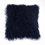 Mongolian Faux Fur Square Throw Pillow in Navy