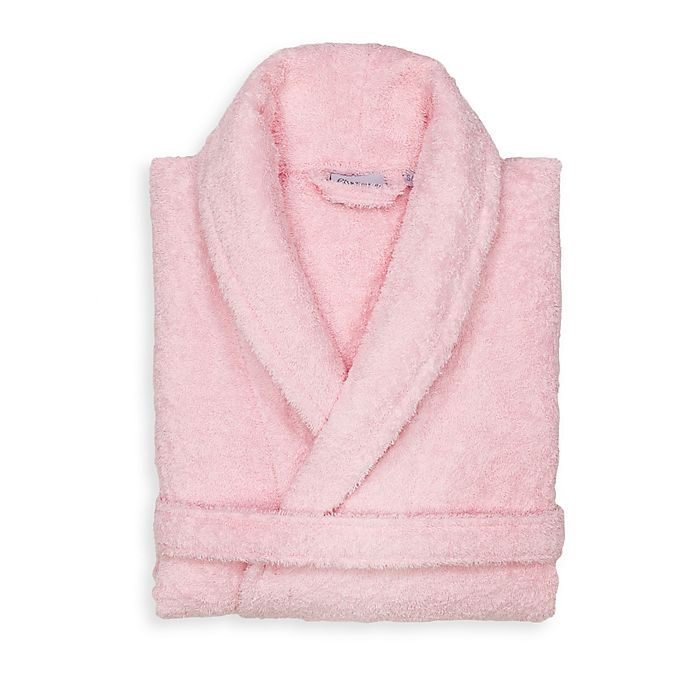 Alternate image 1 for Linum Home Textiles Small/Medium Turkish Cotton Terry Unisex Bathrobe in Pink