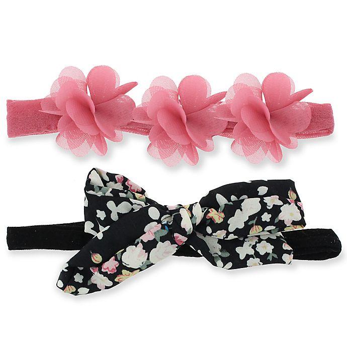 Alternate image 1 for Capelli New York 2-Pack Infant Flower & Bow Headwraps