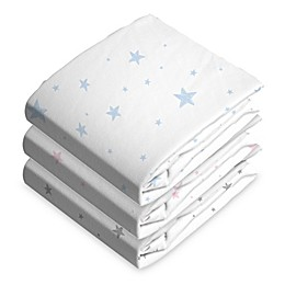 Cotton Flannel Fitted Bassinet Sheet Blue Scribble Stars