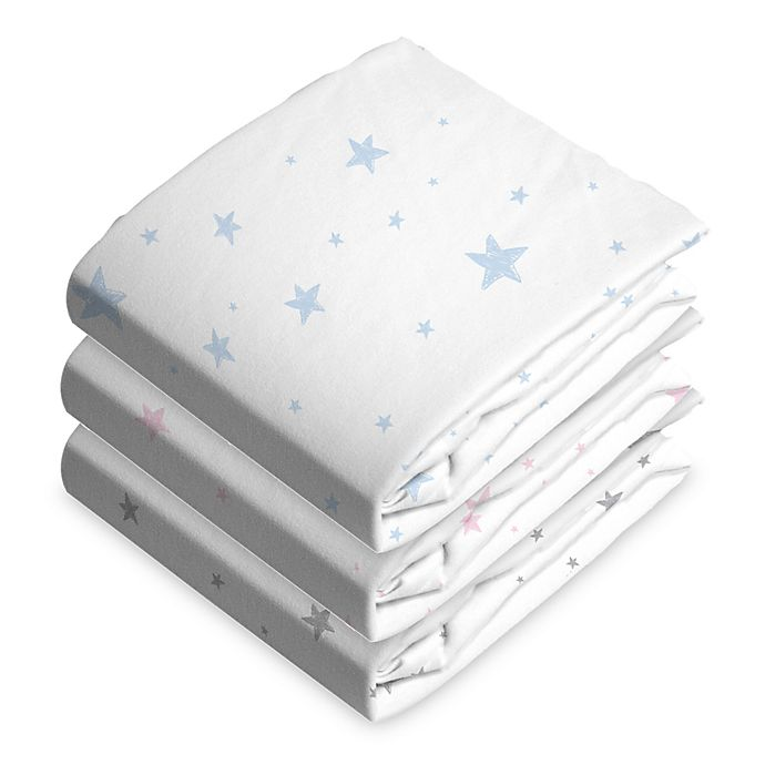 Alternate image 1 for Cotton Flannel Fitted Bassinet Sheet Blue Scribble Stars