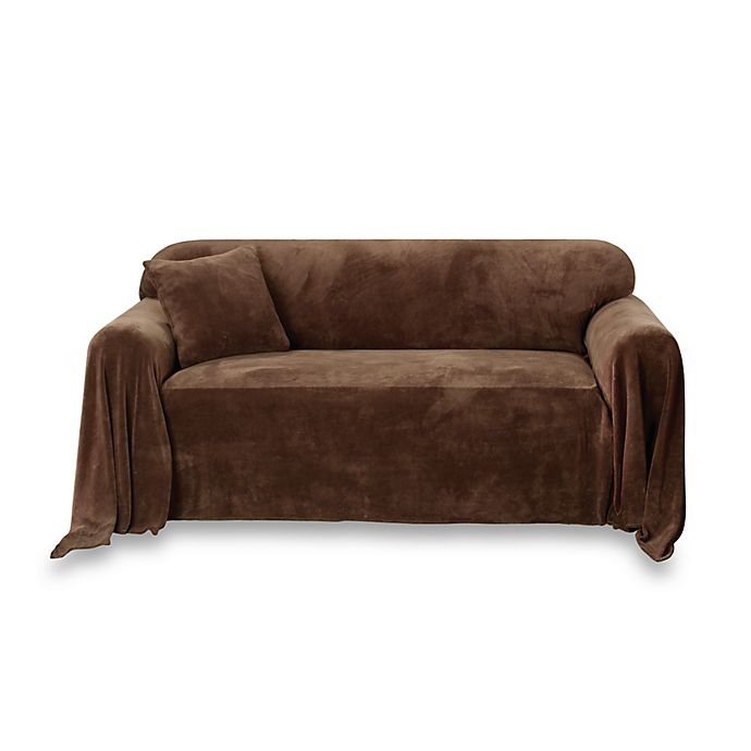 Sure Fit Plush Furniture Throw Chocolate Bed Bath Beyond