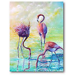 Courtside Market Three Flamingos 16-Inch x 20-Inch Canvas Wall Art
