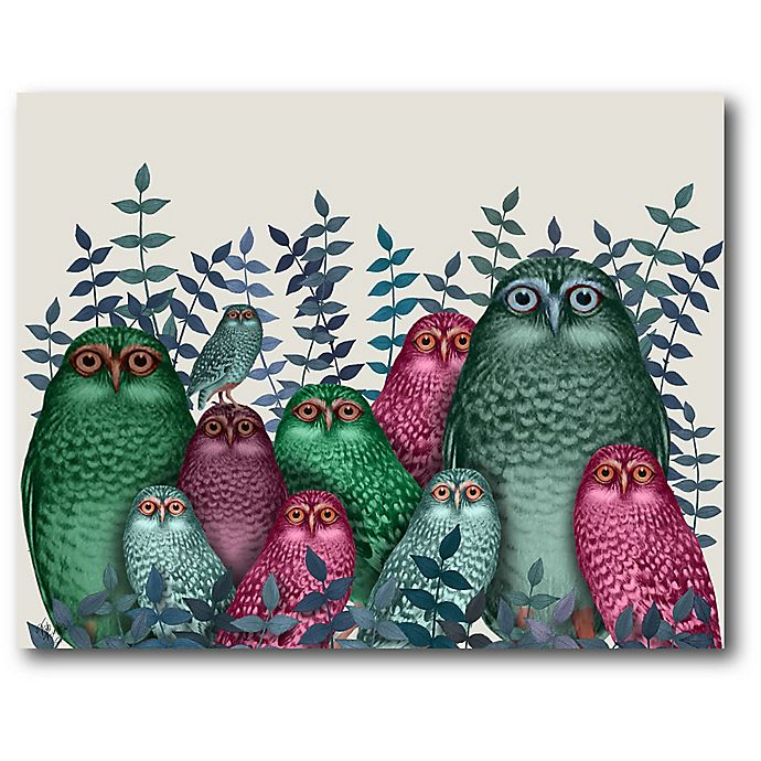 Alternate image 1 for Courtside Market Electric Owls 20-Inch x 16-Inch Canvas Wall Art