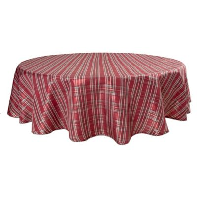 Bardwil Linens Christmas Plaid 70 Inch Round Tablecloth Bed Bath Beyond