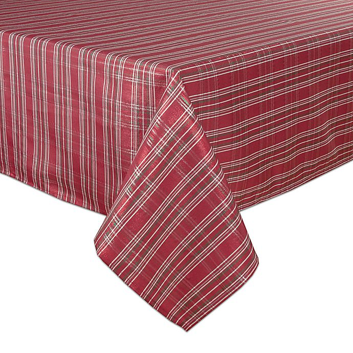Alternate image 1 for Bardwil Linens Christmas Plaid Tablecloth