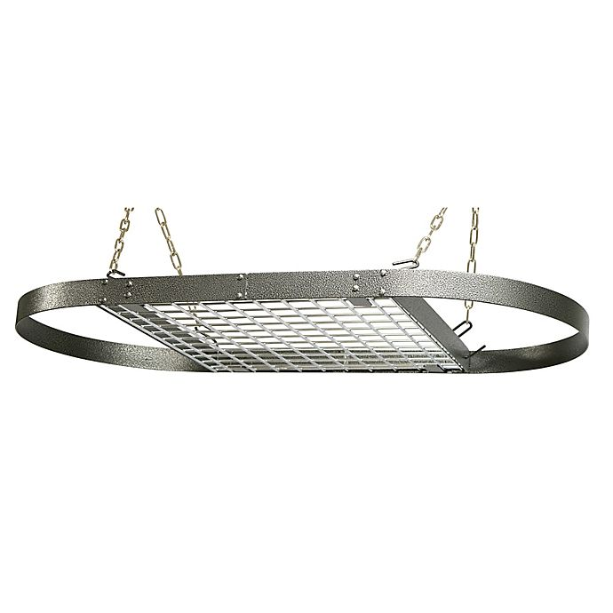 Alternate image 1 for Range Kleen® Oval Hanging Pot Rack in Grey Hammered