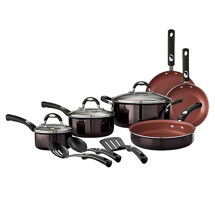 Alternate image 1 for Tramontina® Style Aluminum 12-Piece Nonstick Cookware Set in Black Cherry