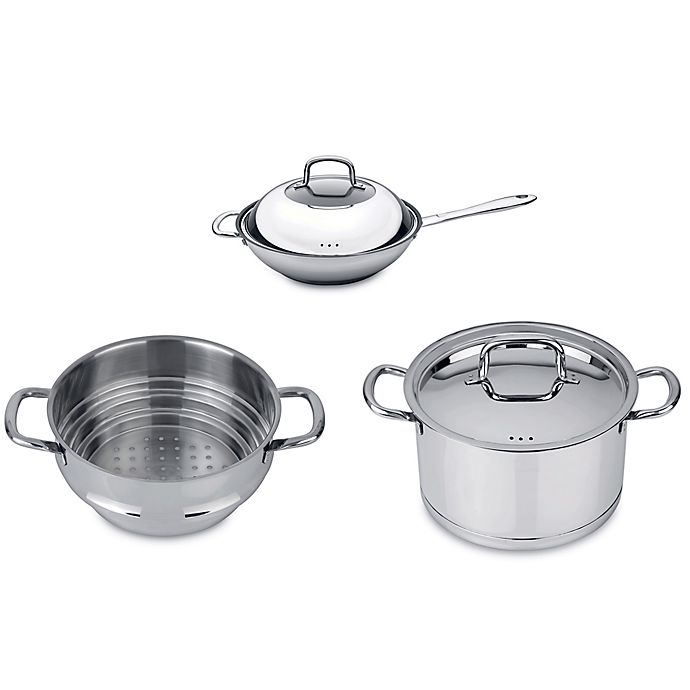 Alternate image 1 for BergHOFF® Collect n Cook Stainless Steel 5-Piece Vegetable Stir Fry Cookware Set