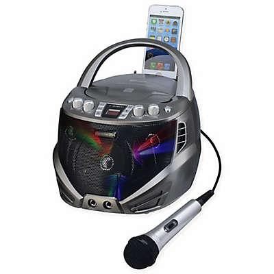 Karaoke USA Portable CDG Karaoke Player with Flashing LED Lights in Silver