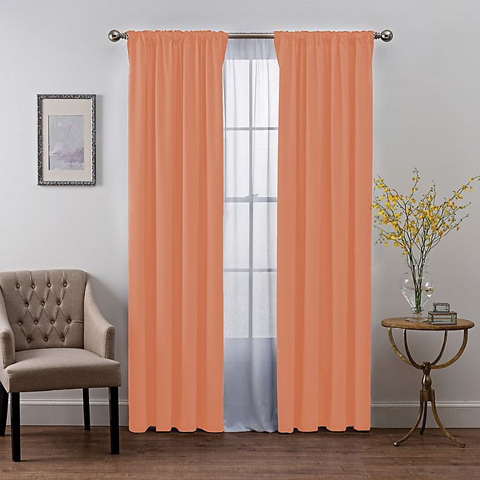 Alternate image 1 for SmartBlock™ Chroma 63-Inch Rod Pocket 100% Blackout Window Curtain Panel in Coral