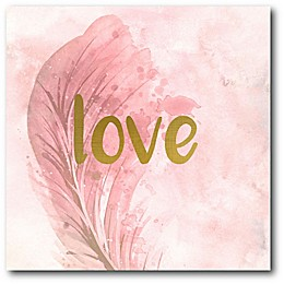 """Courtside Market Feathered """"Love"""" 16-Inch Square Canvas Wall Art"""