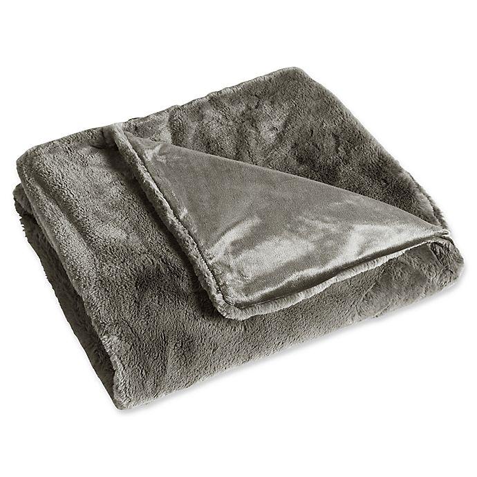 Alternate image 1 for Rabbit Faux Fur Throw Blanket in Grey