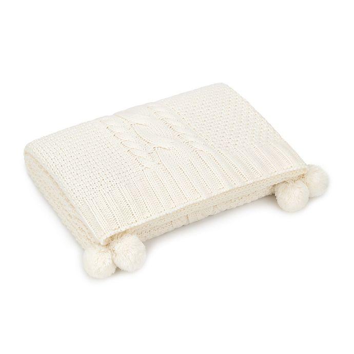 Alternate image 1 for UGG® Brita Pom-Pom Cable Throw Blanket in Cream