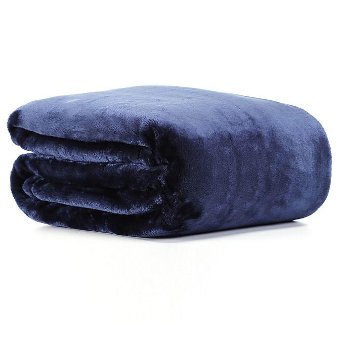 Alternate image 1 for VelvetLoft® Plush Throw Blanket in Navy