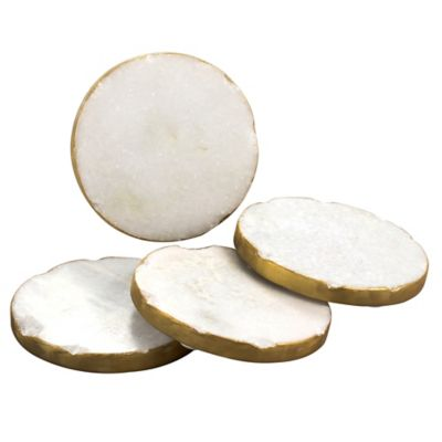 Thirstystone 174 White Marble Single Round Coaster With Gold