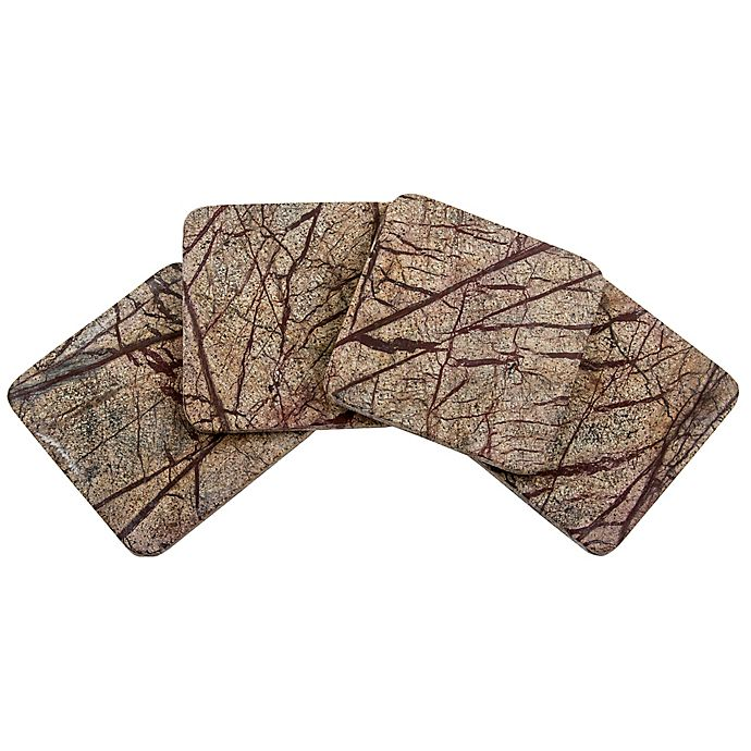 Alternate image 1 for Thirstystone® Rainforest Marble Single Square Coaster in Brown
