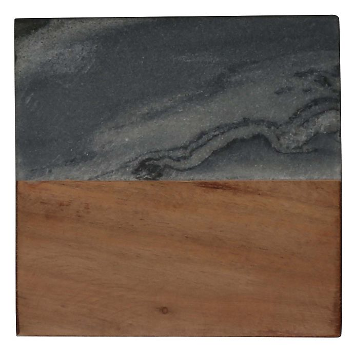 Alternate image 1 for Thirstystone® Marble and Acacia Wood Single Square Coaster