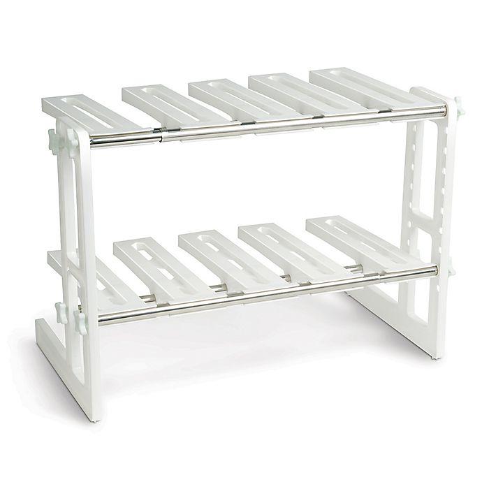 Adjustable Under Sink Cabinet Storage Counter Shelf: IdeaWorks Adjustable Under Sink Shelf In White/Silver