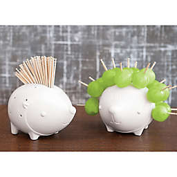 Talisman Designs Porcupine Ceramic Toothpick Holder in White