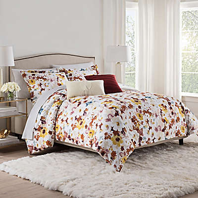 Isaac Mizrahi Home Addie Comforter Set in Burgundy/White