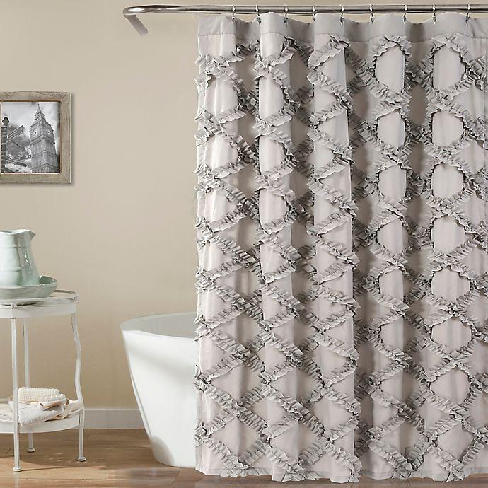 Alternate image 1 for Lush Decor 72-Inch x 72-Inch Ruffle Diamond Shower Curtain in Grey
