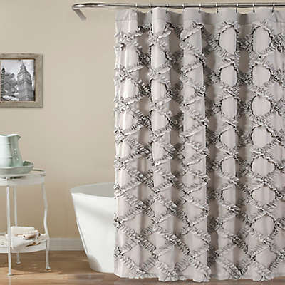 Lush Decor 72-Inch x 72-Inch Ruffle Diamond Shower Curtain