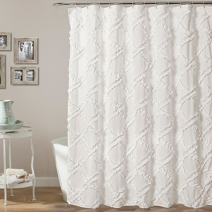 Alternate image 1 for Lush Decor 72-Inch x 72-Inch Ruffle Diamond Shower Curtain in White