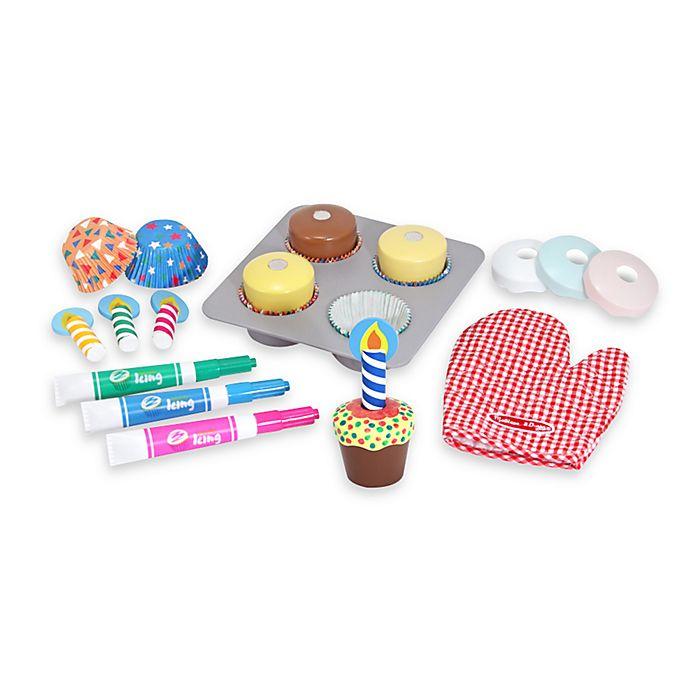 Alternate image 1 for Melissa & Doug® Wooden Bake & Decorate Cupcake Set
