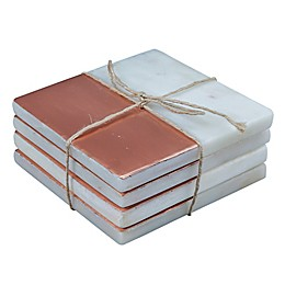 Thirstystone® Square Copper Plated Marble Coaster in White (Set of 4)