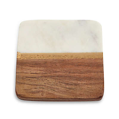 Thirstystone® Square Acacia and Marble with Gold Stripes Coaster in White (Set of 4)