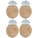 Thirstystone® Wood and Marble Pineapple Coasters with Gold Stripe (Set of 4)