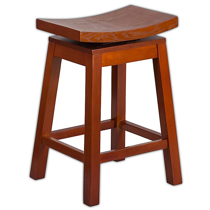 Flash Furniture Saddle Seat 26 Inch Counter Stool In Light Cherry
