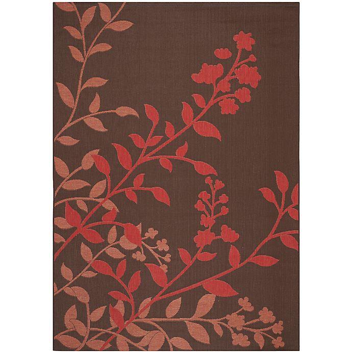 Alternate image 1 for Safavieh Courtyard 6-Foot 7-Inch x 9-Foot 6-Inch Teresa Indoor/Outdoor Rug in Chocolate/Red