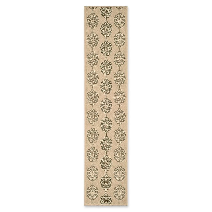 Alternate image 1 for Safavieh Courtyard 2-Foot 3-Inch x 12-Foot Isabel Indoor/Outdoor Rug in Natural/Olive