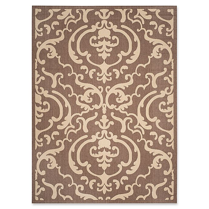 Alternate image 1 for Safavieh Courtyard 6-Foot 7-Inch x 9-Foot 6-Inch Sophie Indoor/Outdoor Rug in Chocolate/Natural