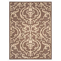 Safavieh Courtyard 6-Foot 7-Inch x 9-Foot 6-Inch Sophie Indoor/Outdoor Rug in Chocolate/Natural
