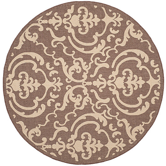 Alternate image 1 for Safavieh Courtyard 7-Foot 10-Inch x 7-Foot 10-inch Sophie Indoor/Outdoor Rug in Chocolate/Natural