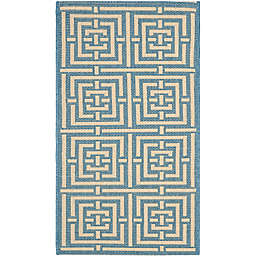 Safavieh Courtyard 2-Foot x 3-Foot 7-Inch Samara Indoor/Outdoor Rug in Blue/Bone