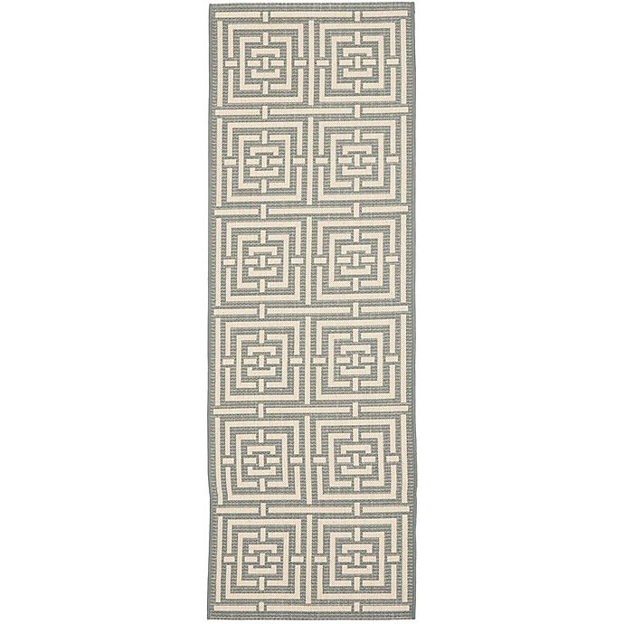 Alternate image 1 for Safavieh Courtyard 2-Foot 3-Inch x 18-Foot Samara Indoor/Outdoor Rug in Grey/Cream