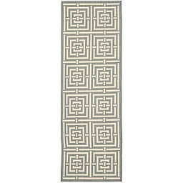 Safavieh Courtyard 2-Foot 3-Inch x 22-Foot Samara Indoor/Outdoor Rug in Grey/Cream