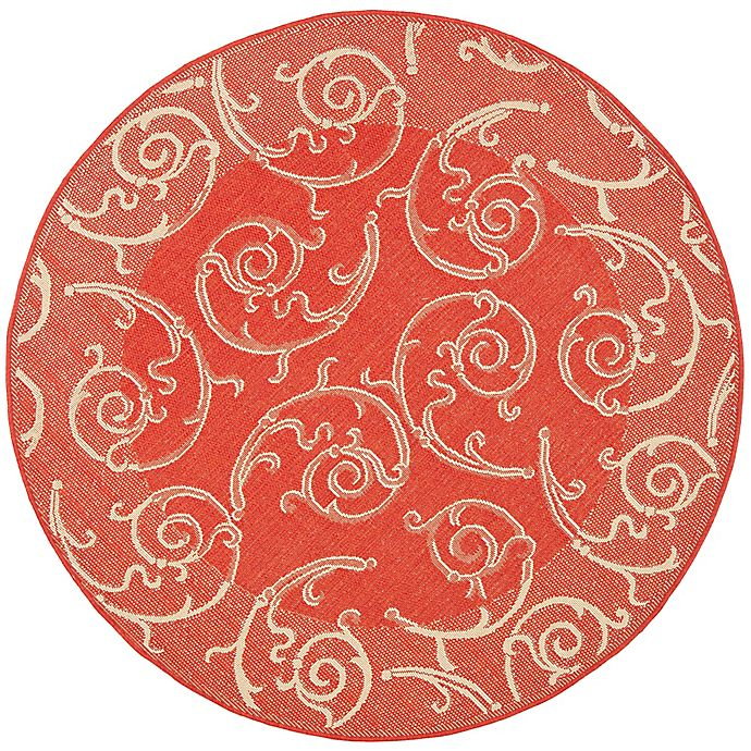 Alternate image 1 for Safavieh Courtyard 5-Foot 3-Inch x 5-Foot 3-Inch Luna Indoor/Outdoor Rug in Red/Natural